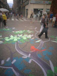 Fête des tuiles, Grenoble, juin 2018, fresque réalisée avec Alan TEMPLIER